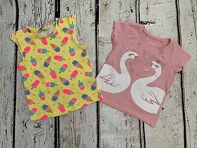 Primark Girls Pink Swan/ Yellow Ice Cream Summer Tops X2 Age 2-3 Years • 1.60£