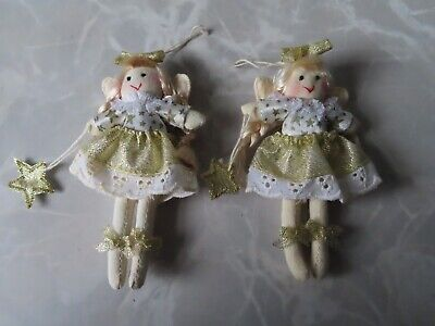 2 X Small Christmas Fairies - Height - 4 Inches - **Decoration Only NOT A TOY** • 4£