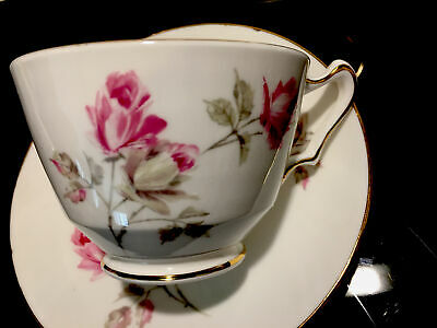 Crown Staffordshire England Bone China Floral Rose Teacup And Saucer Set Of 6 • 63.69£