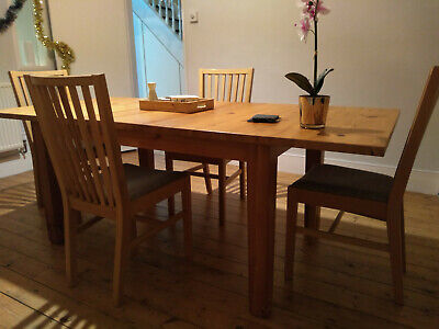 Ikea Extendable Dinner Table And Chairs, Antique Stain. • 99.99£