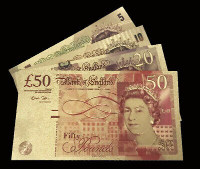 £9.95 • Buy 4x  (24 Carat Gold Leaf £50, £20, £10 & £5) GB Gold Bank Notes Collectable