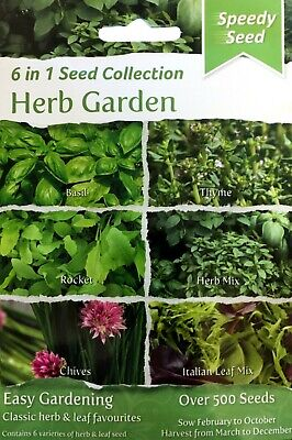 £3.99 • Buy Herb Seed Mix Herb Garden 6 Packs Of Seeds In 1 Collection Pack Basil Thyme