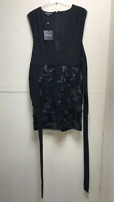 BNWT Parisian Black Body Suit Dress With See Through Lace Skirt Size 14 • 8.99£