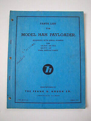 AU64.35 • Buy IH Hough HAH Front-End Wheel PAY Loader Tractor Parts Catalog Manual List 4A/4B