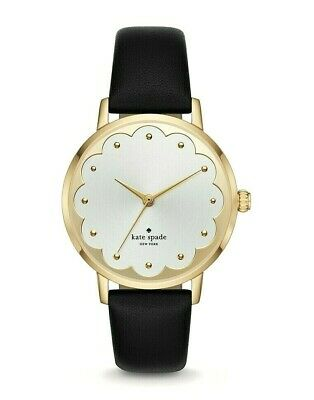 $ CDN111.38 • Buy Kate Spade Gold Plated Metro Scallop Black Leather Strap Watch KSW9018 NWT BOX
