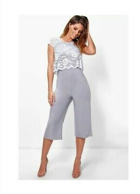 Boohoo Lace Overlay Culottes Jumpsuit, In Grey Uk Size 8 • 2.50£