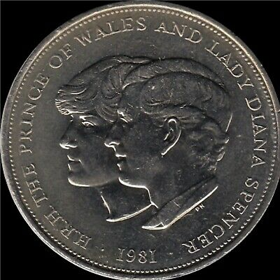 Rare British 5 Pound Coin 1981. H.R.H The Prince Of Wales And Lady Diana Spencer • 13£