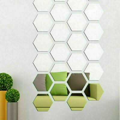 48X 3D Mirror Wall Stickers Home Decor Acrylic Art Decal Bathroom Self Adhesive • 5.99£