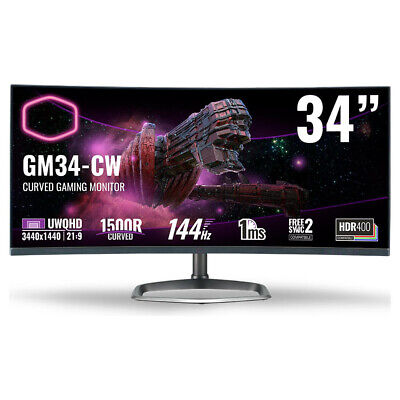 AU1234.95 • Buy Cooler Master GM34-CW 34 Ultra Wide QHD 144Hz Curved Gaming Monitor NEW
