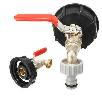 IBC Water Tank Outlet Adapter W/ Brass Tap +1/2  Snap On Hose Connector Valve UK • 9.89£