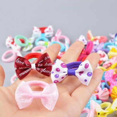 $ CDN2.79 • Buy 10 Pcs New Girls Polka Dots Bow Elastic Hair Rubber Bands Accessories For Kids