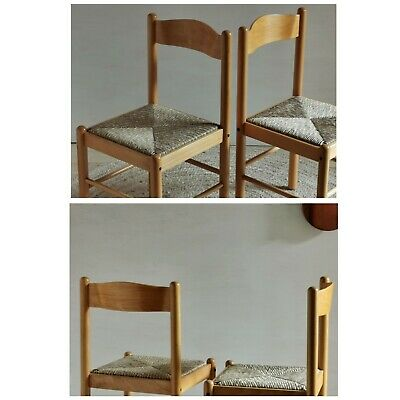 AU80 • Buy Fab PAIR Italian Style Vintage Dining Chairs Rush Paper Cord Mid Century 70s 80s