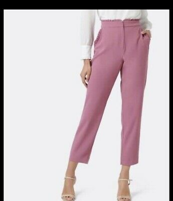 AU39 • Buy Forever New Nellie Frill Work Pants Pink Antique Almond Size 8 BNWT RRP$89.99