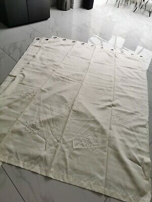 Ring Tab Top Lined Curtains Ivory 66 X 90 Sequin Detail New With Defect • 29£