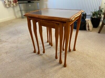 Nest Of Three Tables With Inlaid Glass Tops, Used, Good Condition • 15£