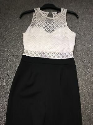 Jumpsuit Black And White Lace Weddings Party Holidays Pretty Size 12 • 2£