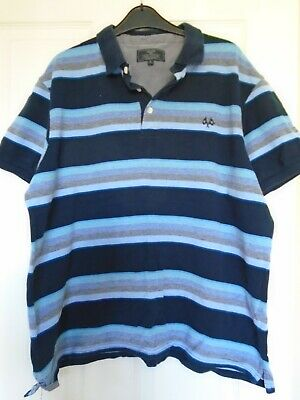 Lovely Mens Blue Multi Short Sleeve Polo Top By Atlantic Bay (bhs), Sz Xl, Used. • 4.99£