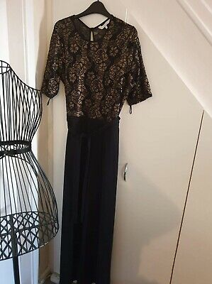 Womens Catsuit Bell Bottoms Size 16 Lace Glitter Detail Top • 5£