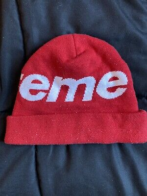 $ CDN56.96 • Buy Supreme Beanie Red Logo 100% Authentic Hat Skully