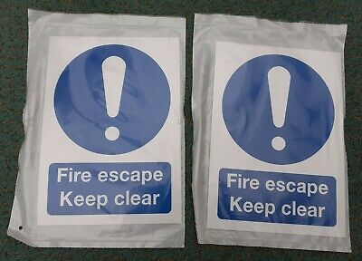 Fire Escape Keep Clear Sign X2 • 1.54£