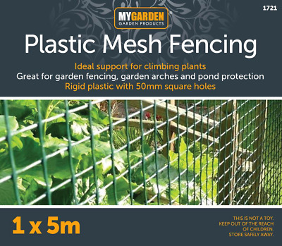 Plastic Mesh Garden Netting Fencing Plant Barrier Green Chicken Wire 5m Roll • 17.49£