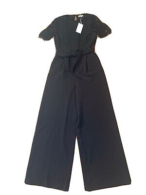 Womens Beautiful Black Jumpsuit With Lace Sleeves. Size 10. Brand New With Tags  • 0.99£