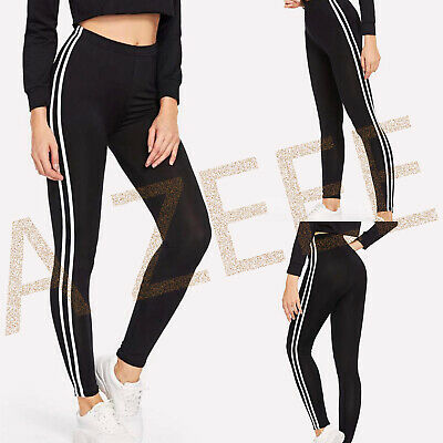 New Ladies Womens 2 Stripes On The Side Black Running Gym Legging Pant Uk        • 8.99£