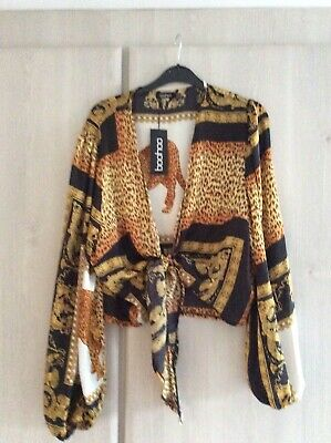 Multi Print Tie Front Blouse/top Size 20 Long Sleeve New Tiger Design Women's • 10£