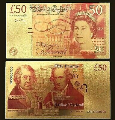 24k Gold Plated New UK £50 Fifty Pound Note Collectable, Colorised Gold Plated  • 2.25£