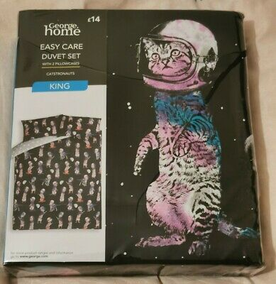 George Home Easy Care Asda Catstronauts King Size Duvet Set - Brand New • 15.99£