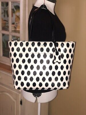 $ CDN25.30 • Buy Kate Spade Harding Street Ikat Dot Riley Tote, Black & White Large Shoulder Bag