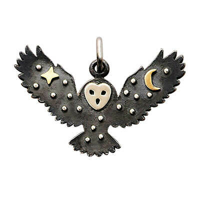 £18 • Buy Owl Charm Sterling Silver Bird Star Moon Pendant Flying .925 And Bronze
