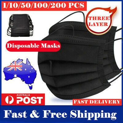 AU14.49 • Buy 50-200 Disposable Face Mask Black 3 Layer Ply Mouth Mask Anti Bacterial Filter🌍