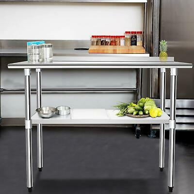 Stainless Steel Commercial Kitchen Food Prep Work Table+Over Shelf Bench Top Set • 109.89£