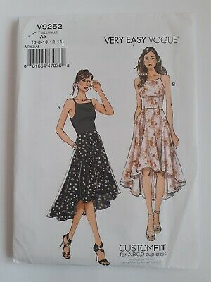 Uncut Vogue 9252 High Low Hem Dress Very Easy Sewing Pattern 6-14 Custom Fit Cup • 11.75£