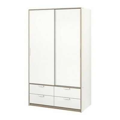 Ikea Trysil White Wardrobe With Sliding Doors & 4 Drawers • 45£