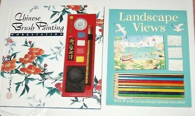 2  Art Books - Chinese Brush Painting Workstation & Landscape Views + Pencils • 5.99£