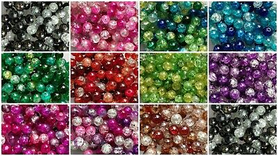 £2.90 • Buy BUY 3 GET 3 FREE Glass Crackle Bead Mixes 8mmx100 Or 6mmx200 - 11 Colour Mixes