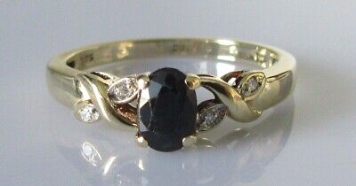 AU250.35 • Buy Gold Diamond Ring - 9ct Gold Oval Sapphire Diamond Crossover Ring Size M
