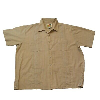 £10.19 • Buy Haband Guayabera Mens Button Covered Snaps Short Sleeve Shirt Beige XL