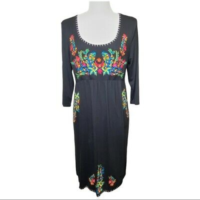 Chelsea &Theodore Women's Jersey Knit Floral Embroidered Scoop Neck Dress L Boho • 17.86£