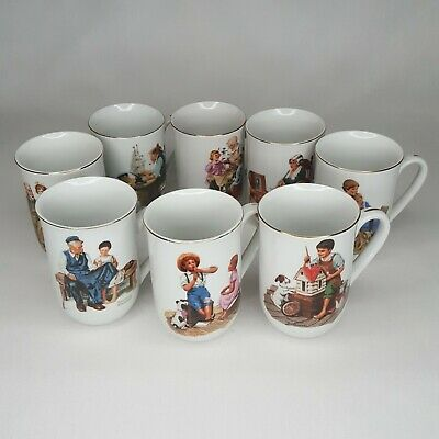 $ CDN20.20 • Buy Norman Rockwell Museum Set Of 8 Mugs, Cups Vintage 1982 Gold Trim Collectible