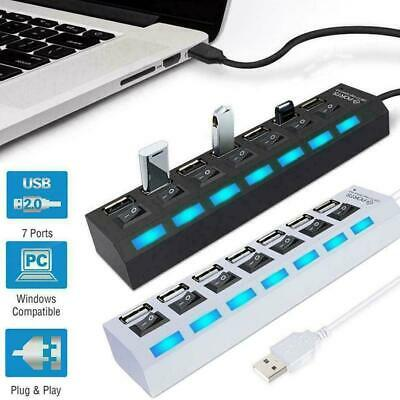 AU5.29 • Buy 7 Port USB 2.0 HUB Powered High Speed Splitter Extender PC AC Adapter Cable