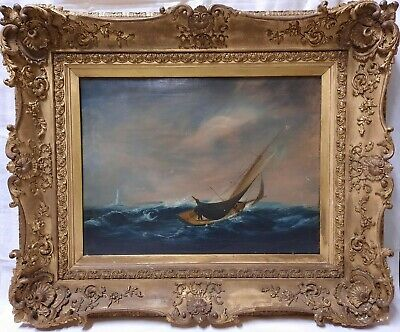 Victorian Oil On Canvas Painting Of A Sailing Boat On Stormy Sea Signed E.Harley • 550£