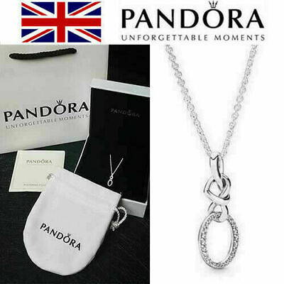 Pandora #398078CZ Genuine Sterling Silver Pendant Necklace Knotted Heart Gifts • 14.98£