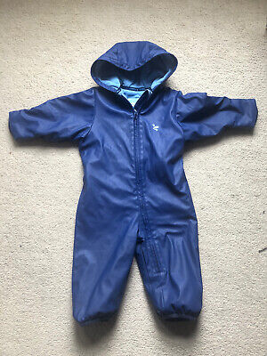 Muddy Puddles Blue Splash Suit Waterproof All In One Rainsuit 12-18 Months • 19£