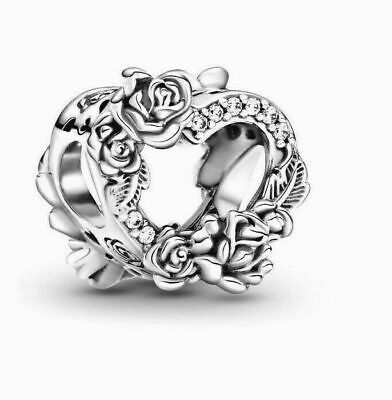 £11.99 • Buy Genuine Sterling Silver Pandora Fitting 'Open Heart & Rose Flowers' Charm &Pouch