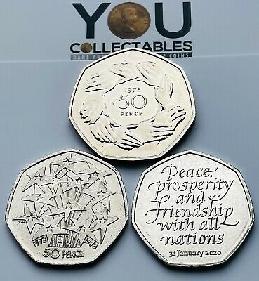 50p Fifty Pence - 3 Coin Set- 1973 EEC Ring Of Hands - 1998 EU And 2020 BREXIT! • 10.95£