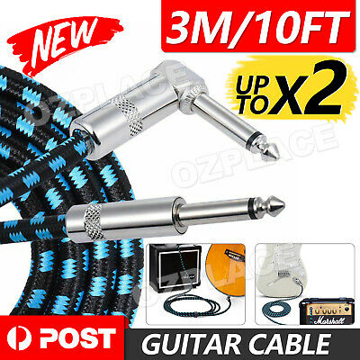 AU9.25 • Buy 3M Electric Guitar Lead Cord Cable 6.35mm 1/4  Jacks For Amp Pedals Instruments