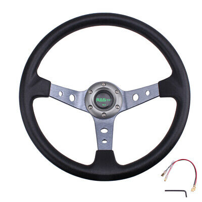 $34.50 • Buy Steering Wheel 350mm 14inch Deep Dish 6 Bolt With Horn Button Racing Black